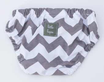 Grey Chevron Diaper Cover. newborn to toddler. gray