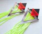 Trilex – Earrings, Neon Fringe, Laser Cut Pieces