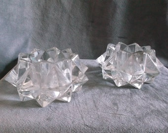 Vintage Pair of Clear Glass Candle Holders