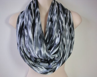 White, Gray and Black Infinity Scarf
