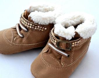 ON SALE!!! Baby Swarovski Crystal brown fur gold pram walking Shoes booties 9-12 months bridesmaid