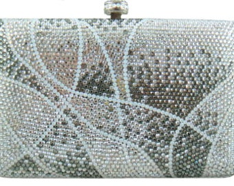 Swarovski ELEMENTS Patterned Silver White Diamond Crystal Minaudiere Metal case rectangle box clutch purse bag