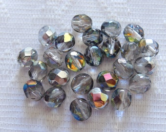 25  Clear Silver Vitrail AB Faceted Round Czech Glass Beads  7mm