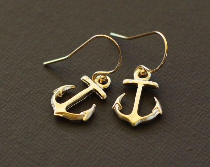 Gold Anchor Earrings - 14K gold filled ear wires
