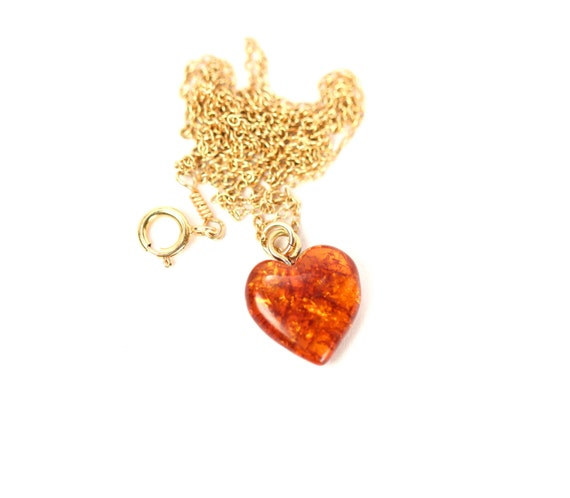 Amber heart necklace - baltic amber necklace - healing amber - a genuine amber heart on a sterling silver chain