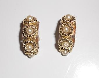Vintage earrings half moons, metal and glass pearls clip on earrings 1960s
