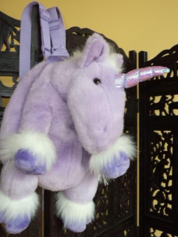 Unicorn Backpack Fuzzy Plush Kids Purple Cuddly Club Kid 90s