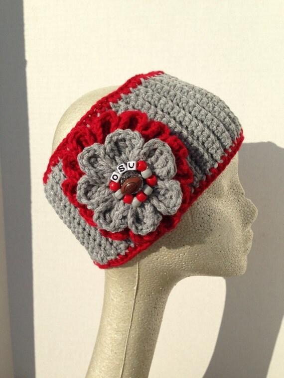 New Crochet Ladies Ohio State Buckeyes Ear Warmer By