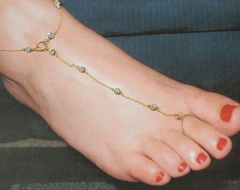 Sharp and Classy  only the Best floating cubic zirconias barefoot anklet