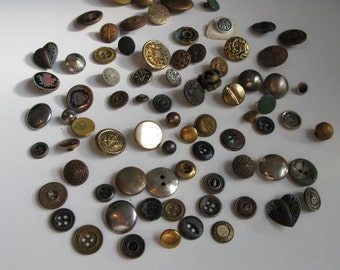 Gold Metal Button, Victorian Picture Buttons Shield Antique Old Mixed Lot