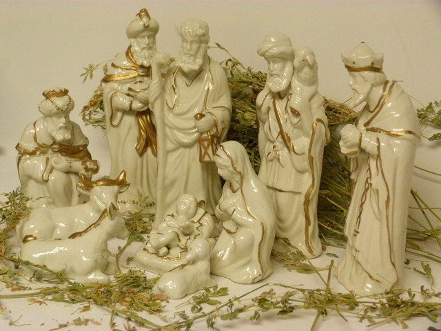 Vintage Porcelain Nativity Scene Large Nativity Set