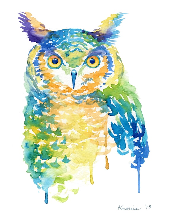 items similar to cool color owl watercolor print abstract birds trendy on etsy
