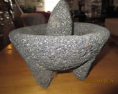 lava stone 3 leggid mortar and pestle set, large. on sale