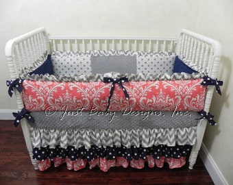Custom Baby Bedding Set Ellery -  Girl Crib Bedding, Coral Baby Bedding, Navy and Coral with Gray Chevron and Polka Dots