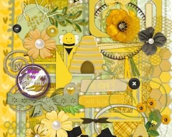 My Honey Digital Scrapbook Kit, Instant Download, Clip Art,  PNG Images, Backgrounds, Scrapbooking, Card Making, Honey Bee, love clipart
