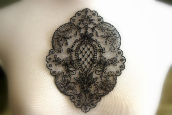 Black Lace Applique, Lace Medallion, Lace Applique, Custom Design, Couture Design, Dressmaking, Crafting, etc, AP-035