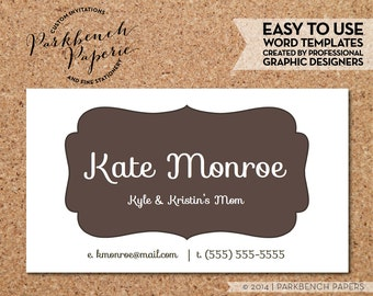Business Card Template - Chocolate Frame -  DIY Editable Word Template, Instant Download, Printable