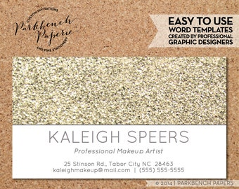 Business Card Template - Light Gold Glitter -  DIY Editable Word Template, Instant Download, Printable