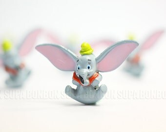 2 pcs Decoden PVC Pendant Charms Dumbo Elephant Miniature Animal Dollhouse 3.0cm DS231