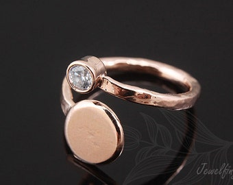 C1117-10pcs-Pink Gold Plated-Ring-Hand Stamping Ring