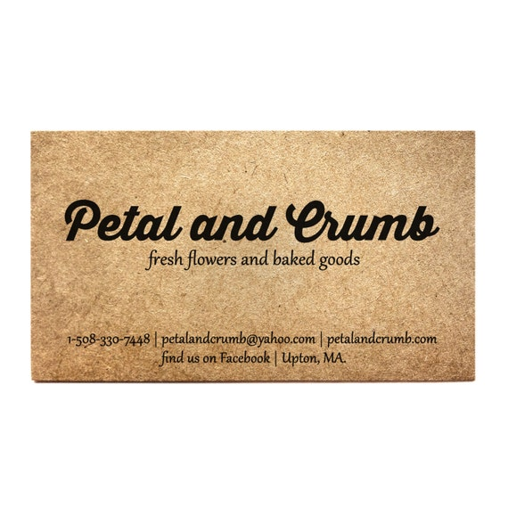 Business cards set of 50 kraft one sided card rustic reheart Gallery