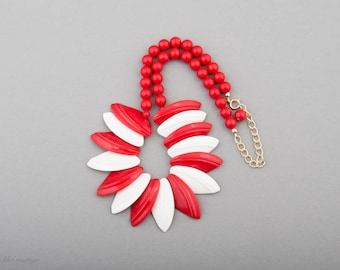 Necklace Mid Century Modern Plastic Red White
