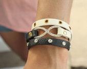 Leather Wrapped Infinity Bracelet with Rhinestone and Shamballa Beads