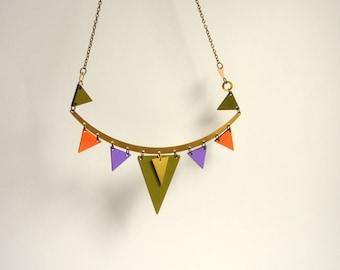 Brass Geometric Necklace, Brass and Wood Triangles Bib,Wood Tribal Necklace,Geometric Jewelry