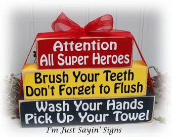 Attention All Super Heroes Wood Blocks for the Bathroom