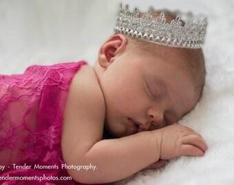 Baby crown, baby lace crown, Newborn Crown, Baby Lace Crown, Baby Photo Prop, Sliver Lace Crown, Tiara newborn.