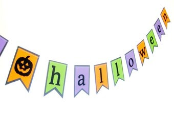 Happy Halloween Pennant Banner - orange, shimmer purple, shimmer black, glitter black, Halloween Banner, Halloween decor, Halloween party