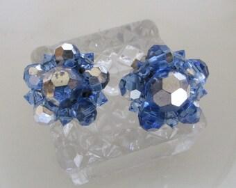 Vintage Blue Crystal Cluster Earrings