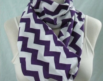 The Purple & White Chevron Infinity Scarf - Jersey Knit Cowl -