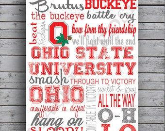 Ohio State Buckeyes Subway Art -Print