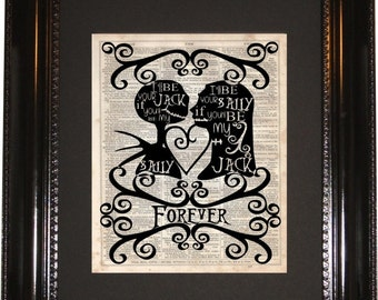 Jack And Sally Dictionary Art Print Vintage Dictionary Silhouette Nightmare Before Christmas