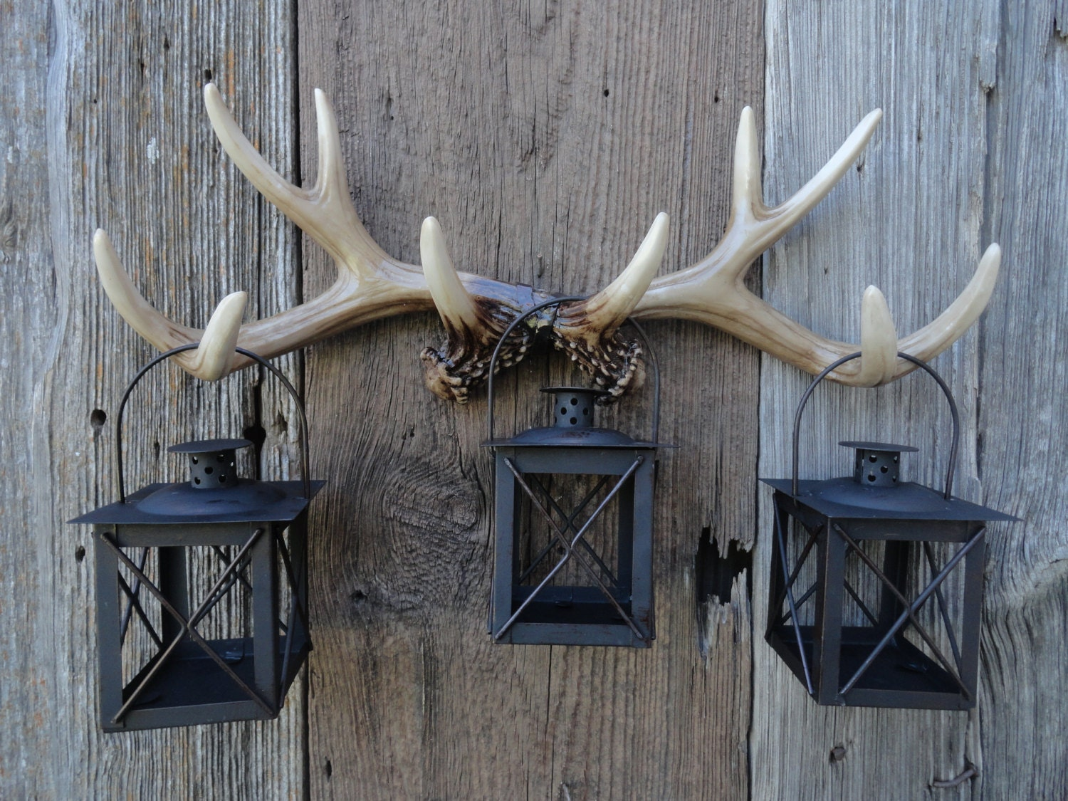 Wall antlers faux taxidermy deer antler wall rack antler for Antler wall decor