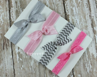 4 No Tug Elastic Hair Ties - Pink and Gray Hair Ties-  Glitter hair tie set - Pink Ponytail Holder