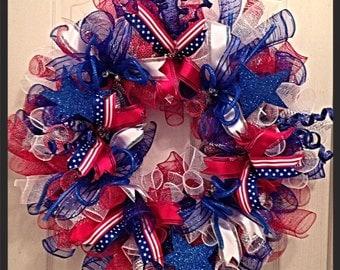 Patriotic Deco Mesh Wreath/Labor Day Wreath/Red, White and Blue Deco Mesh Wreath/Summer Deco Mesh Wreath
