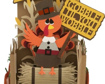 Thanksgiving Fall Card In A Box 3D SVG