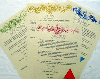 4 Page ELEMENTAL CORRESPONDENCE SET for book of shadows parchment poster A4 wicca pagan art witch page