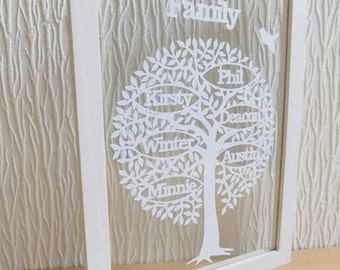 Beautiful handcut personalised family tree papercut in an a4 floating frame
