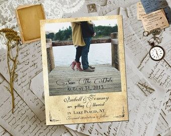 "Wedding Save The Date Magnets - HollaPark Vintage Photo Personalized 4.25""x5.5"""