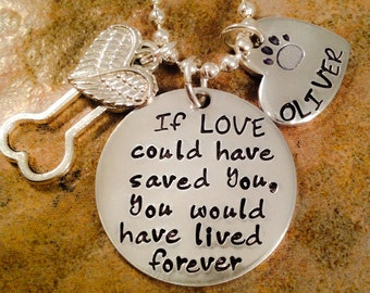 Pet Loss Necklace, Dog, Cat Loss Necklace, If Love Could Have Saved You Necklace, Pet Memorial Jewelry, Aluminum Jewelry