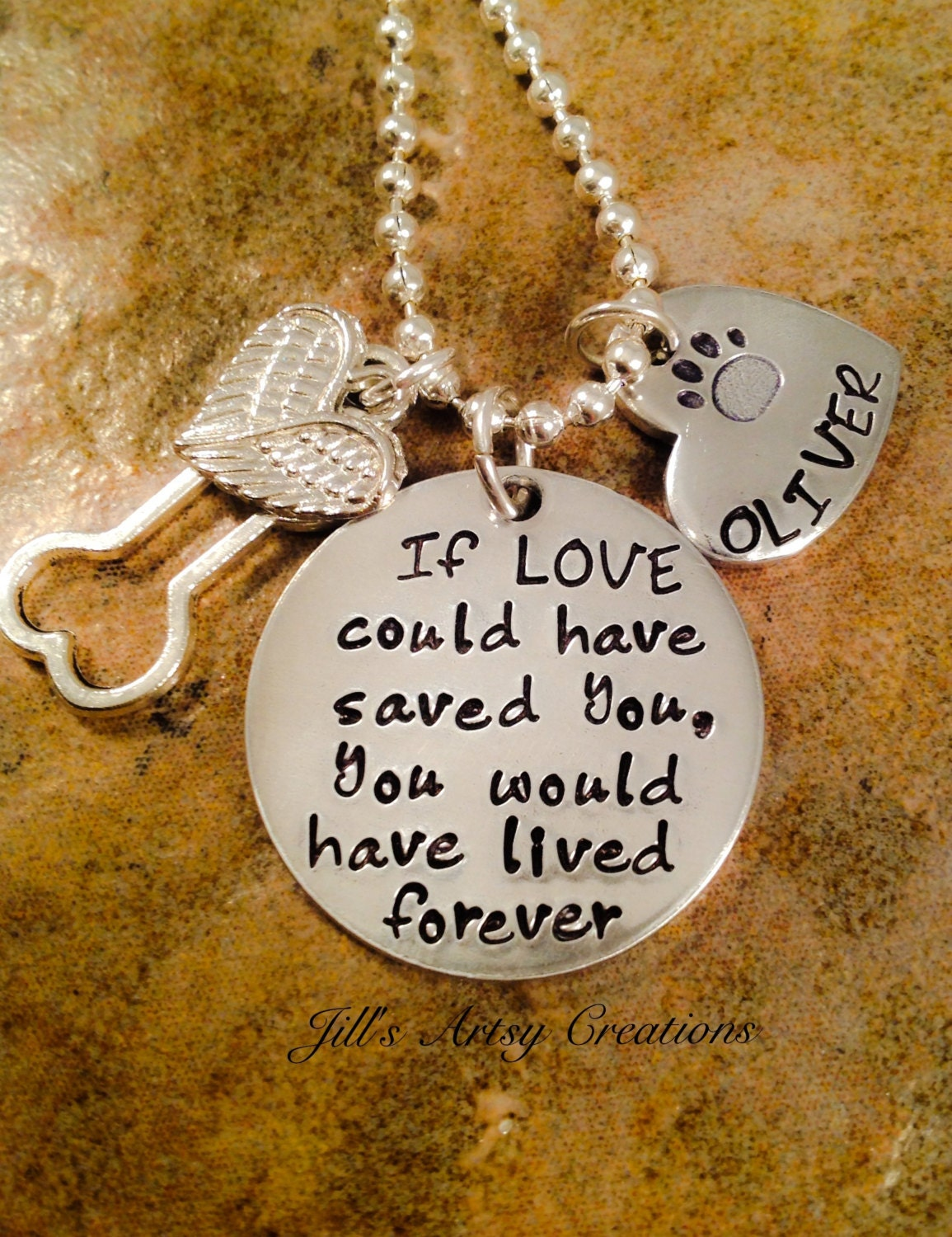 Pet Loss Necklace Dog Cat Loss Necklace If Love Could Have