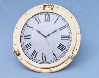 "Deluxe Brass Porthole Clock 20"" Port Hole Clocks / Naval Home Decor"
