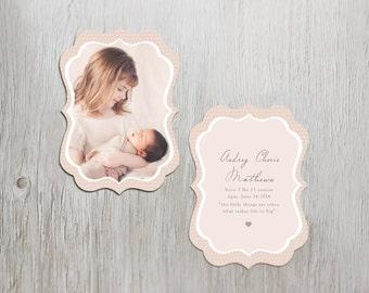 Birth Announcement Template: Pretty Luxe Flat Card