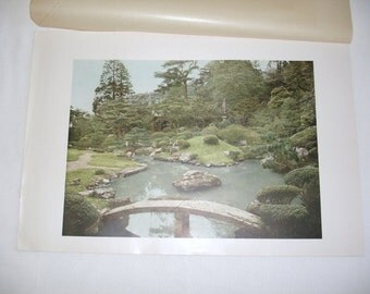 Japanese Print of Shorenin Temple Garden Kyoto 1938