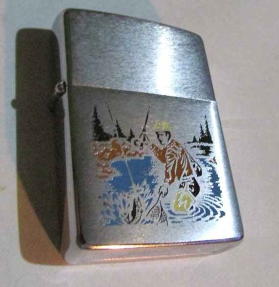 Vintage mid century ZIPPO fly FISHING LIGHTER by DeliciasCastle