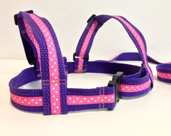 Baby & Toddler harness, walking lead.Cotton webbing leash. Purple webbing and Bright Pink Ribbon.