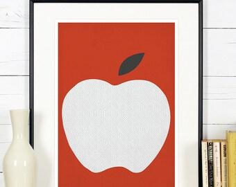 Fruit retro poster, kitchen art, red apple, minimalist design, kitchen picture, art print, vintage poster, wall hanging, Scandinavian art A3